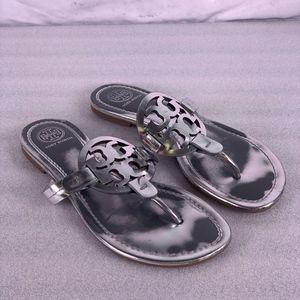 TORY BURCH Miller Mirror Metallic Leather Sandals